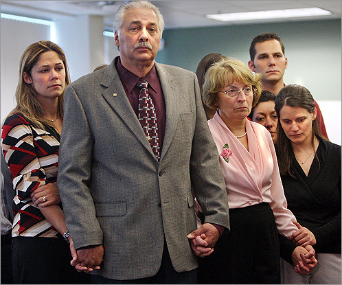 Rachel Entwistle's family and friends gathered at a press conference in the district attorney's office after Neil Entwistle was found guilty of the two slayings.