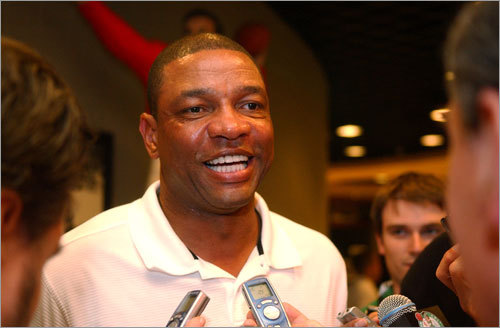 Coach Doc Rivers speaks to the media before the Celtics make their pick.