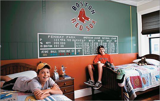 Red sox bedroom new crib nursery bedding m w boston red for Boston red sox bedroom ideas