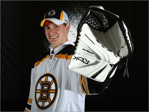 Michael Hutchinson, G The Bruins took the Barrie Colts puckstopper with the 77th pick (third round), their only non-center selection of the weekend. The 6-3, 185-pounder's stock rose when after posting average numbers during the season, he averaged 44 saves a game as the Colts upset Brampton in the first round of the OHL playoffs. He'll likely return to Barrie this fall.