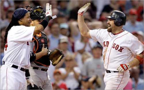 June 5, 2008 Things weren't always this peaceful between teammates Manny Ramirez and Kevin Youkilis. The two got into a dugout scuffle (captured, in part, by NESN cameras) during a game against the Rays. 'I think they were just exchanging some views on things,' Red Sox manager Terry Francona said later about a game that also involved Coco Crisp charging the mound. 'It was kind of a hectic night. Sometimes those things happen. It wasn't really a big deal; it won't be a big deal.'