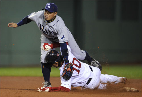 When the Sox were rolling ... In the second game of that series, a 5-1 Red Sox win, things got a little interesting. Tempers flared after Coco Crisp slid in on Tampa's Akinori Iwamura, setting up the events of the next day.