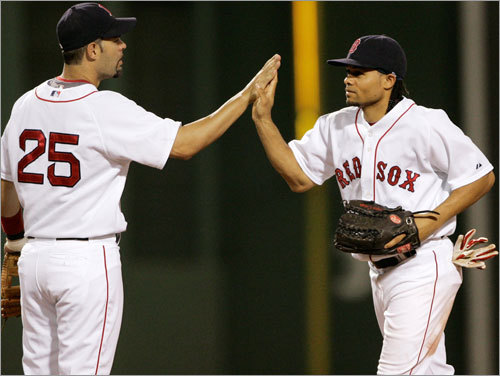 When the Sox were rolling ... The Sox seemed to have Tampa Bay's number to start the month, sweeping a three-game set at Fenway from June 3-5. In the opener, Coco Crisp (right) knocked in two to give the Sox the lead, and Craig Hansen and Jonathan Papelbon closed out the Rays in the late innings for a 7-4 win.