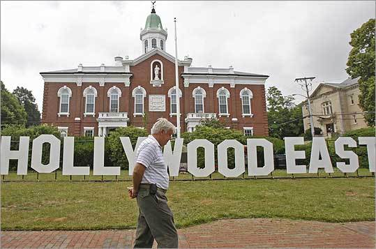 John Hedge, 59, walked in front of the Hollywood East sign installed by Plymouth Rock Studios that blocks the Korean and Vietnam War Memorial.