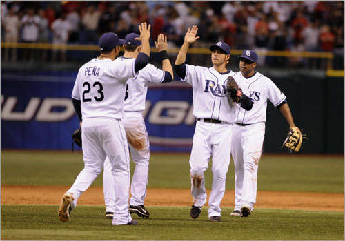 Swept in St. Pete As the 2008 season rolled into July, the Rays swept a three-game set at Tropicana Field to extend their lead atop the AL East to 3 1/2 games.