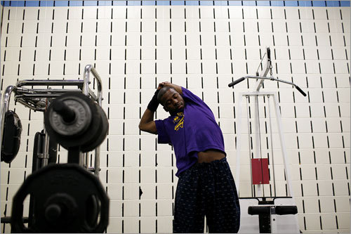 Before heading to his night school class in Roxbury, Fred Daniels, an English High School (EHS) senior, exercised at the school gym on May 13, 2008. When Daniels enrolled in EHS in 2006 at age 18 he was on probation for assault and battery and had to wear a tracking device, but he hoped that EHS was the school that could finally save him after 5 years in and out of jail and in 7 different high schools.