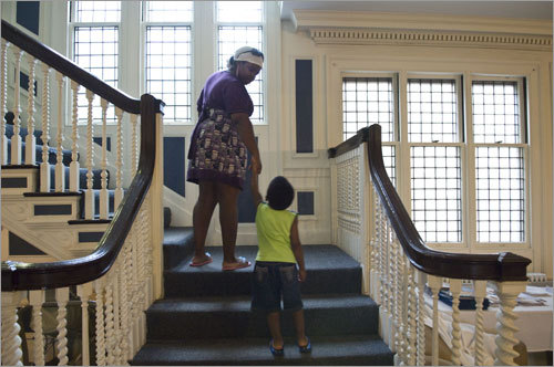 Smith led her son Sam to their room at the retreat at Endicott College, which will be come the pairs' new home in the fall. Attending college outside Boston marks a new beginning and a fresh start for Smith and Sam.