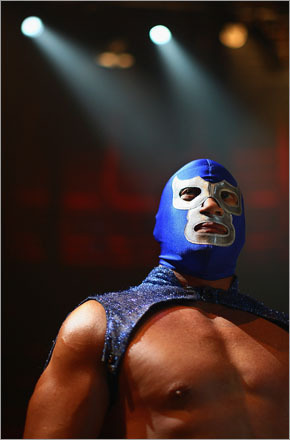 Mexican Lucha Libre wrestler El Hijo del Santo (the greatest living Luchador and heir of the Silver Legend) looks on before performing for media during a press call on July 3, 2008 in London, England. The Lucha Libre, authentic Mexican free wrestling featuring men in mysterious, colourful and elaborate masks, are due to perform this weekend at the Roundhouse Theatre in London.
