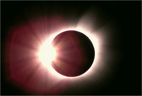 The sun's corona (hot plasma registering 2 million degrees) is only visible during a total eclipse like the one viewed in Libya in 2001.
