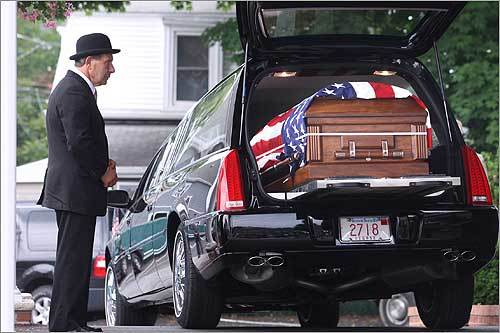 A hearse carrying the body of Army Sergeant Nelson Rodriguez-Ramirez arrived at Vazza 'Beechwood' Funeral Home in Revere. The 22-year-old was killed in Afghanistan on June 21 along with three others when their truck was hit by a roadside bomb.
