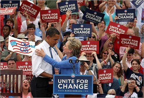 Senator Barack Obama and Senator Hillary Clinton addressed an enthusiastic crowd at Unity Elementary School in New Hampshire.