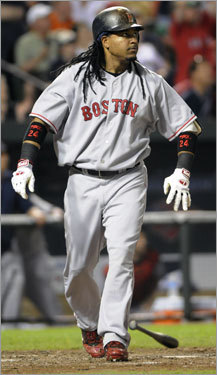 Manny Ramirez, LF Statistics through Saturday: Avg. HRs RBIs Runs SO .279 16 53 52 77 Ramirez, who finished second among outfielders behind Texas' Josh Hamilton with 3,428,577 votes, was selected to his 12th All-Star team, including all eight years with the Red Sox. He has been elected in fan balloting nine times, including each year from 1999-2006 before being a reserve in 2007. He has appeared in eight mid-summer classics as he did not play in the 2000, 2003, and 2006 games.