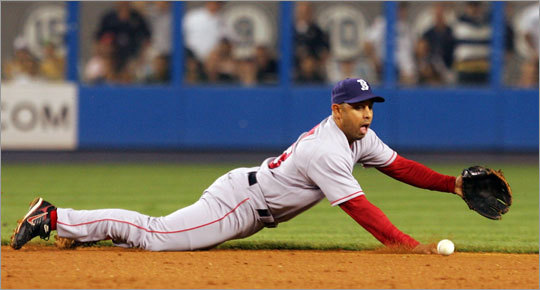 Red Sox shortstop Alex Cora dives, but can't come up with a ball off the bat of Brett Gardner allowing the winning run to scramble home in the 10th inning.