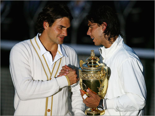 The Globe's Bud Collins dubbed the Wimbledon men's final Sunday between Rafael Nadal and Roger Federer: 'A majestic encounter, maybe the greatest to grace the grassy stage of 86-year-old Centre Court - certainly the foremost of my 41.' Stroll through a gallery we created last year with more of Collins's favorite moments from four decades at the All England Club.