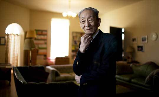 Michio Kushi, 82, at his home in Brookline, where he and his first wife, Aveline, helped spread their concept of diet as a path to health.