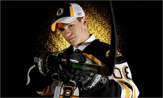 Joe Colborne, the Bruins 16th overall pick in the 2008 NHL Entry Draft, poses after being selected.