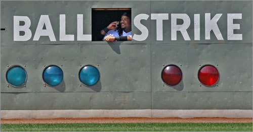 July 13, 2008 During a sixth-inning pitching change in a game against the Twins, Manny Ramirez climbed into the Green Monster and could be seen talking on a cell phone as Javier Lopez entered for Josh Beckett.