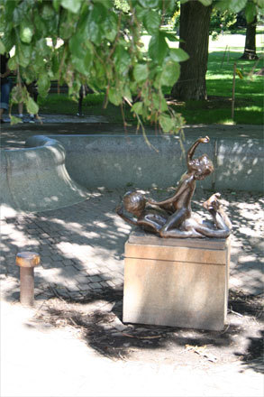 One of the slightly hidden fountains in the Boston Public Garden is the Triton Babies fountain, which although well known, is shrouded by a willow tree arching over the pathway leading to it. The fourth of the series of fountains in the Public Garden, it also contains no water.