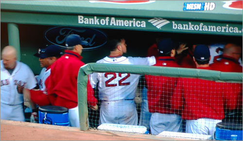 'Hey, Youk, come here, I want to talk to you about somethin' ...' -- Posted by David, poking fun at Manny's much publicized dugout scuffle with teammate Kevin Youkilis in June. Write your own caption