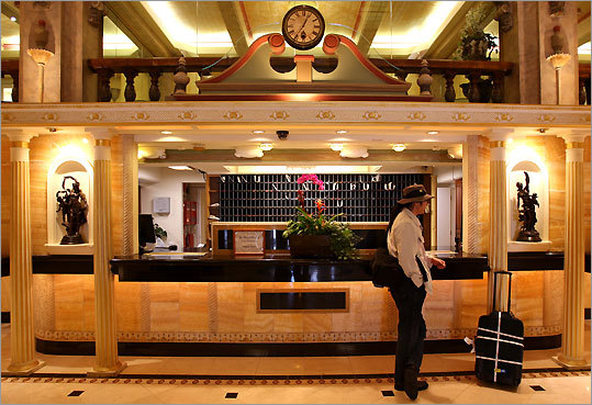 The Cecil Hotel lobby belies its shabby past.