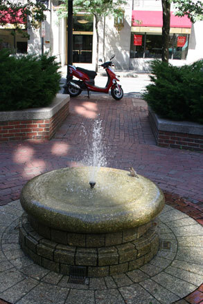 Possibly Boston's smallest fountain sandwiched between the Boston Park Plaza hotel and shops in the area, shows that size does not always matter. Birds in Rome may have the Trevi Fountain as their bathing place but this little bubbler provided a perfect secluded spot for Boston birds to cool off without the constant flash of tourist cameras.