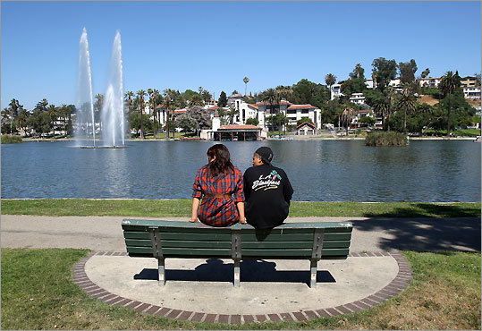 The lake at LA's Echo Park, famous for its plantings of lotuses.