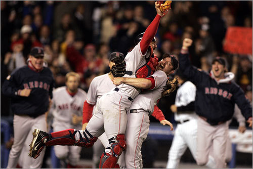 Shock the world Johnny Damon hits a grand slam and knocks in six runs as the Sox complete a comeback from an 0-3 deficit to win Game 7 of the ALCS. 'How many times can you say honestly say you have a chance to shock the world?'' Kevin Millar said. '...We had that chance, and we did it.''