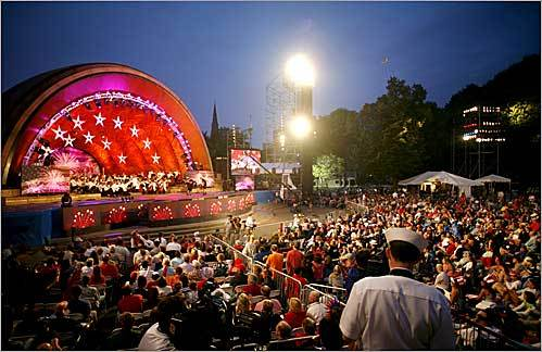The Boston Pops performed at the Fourth of July concert at the Hatch Shell on the Esplanade in Boston.