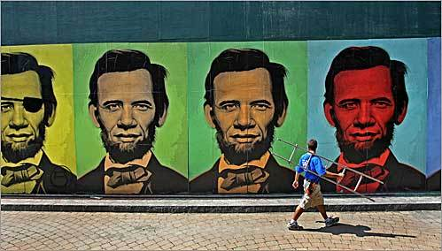owners of the South End's Gallery XIV say they went through weeks of preparation in an alley near 450 Harrison Avenue in Boston to make sure a renowned artist's street exhibition -- a mashup of Democratic presidential candidate Barack Obama and fellow Illinoisan Abraham Lincoln -- was installed legally on the side of a warehouse.