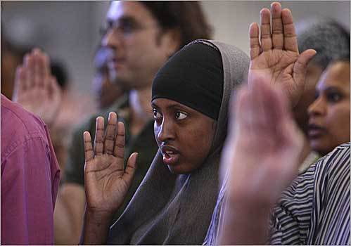 With 364 others, Bugio Abbas, who is from Somalia, took the Oath of Allegiance at Faneuil Hall in Boston to become a US citizen