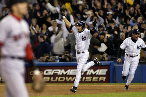 Aaron bleeping Boone Five outs away from advancing to the World Series, the Sox lose a three-run lead in eighth when Grady Little leaves Pedro Martinez in to pitch, and lose the game when Aaron Boone homers in the bottom of the 11th off Tim Wakefield.