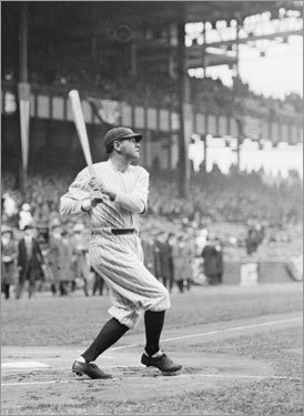 Babe christens his House In the first game played at Yankee Stadium, with John Philip Sousa conducting the pregame music, Babe Ruth hit the first home run, a three-run home run off Sox pitcher Howard Ehmke that landed 10 rows into the lower right-field stands. The right-field foul pole was only 295 feet away, but that was still farther than the 256 down the line at the Polo Grounds. Sportswriter Fred Lieb called it the 'House That Ruth Built,'' but with its inviting power alley in right, many argue it was the house built for Ruth.