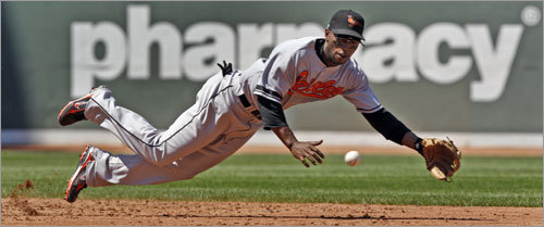 Orioles shortstop Freddie Bynum dove but could only knock down this third inning shot up the middle off the bat of Manny Ramirez, and the Boston LF had an infield single.