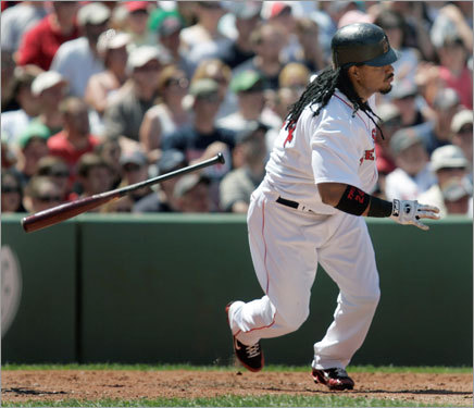 Manny Ramirez got out of the box with this single in the third inning.