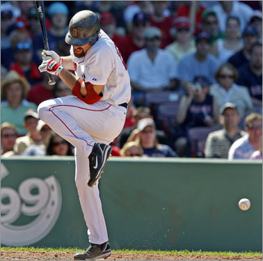 Kevin Youkilis was hit by a pitch in the fifth inning. He later left the game.