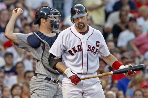 4. Questions for the captain Jason Varitek may call a great game behind the plate, but he really struggled with the bat in the first half. In his last 39 games, Varitek has hit a paltry .141 with 41 strikeouts in 128 at bats. Adding another dimension to this storyline is the fact that he's a free agent at season's end. And at 36 years old, re-signing him to a long-term deal wouldn't seem to be the no-brainer it was a few years ago.
