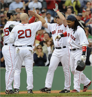 5. Doing their part Ortiz was out of the lineup for the last month-plus and Manny Ramirez slumped at times, yet the Sox offense hardly skipped a beat thanks in large part to J.D. Drew (12 June homers), Dustin Pedroia (a .366 average since June 1), Kevin Youkilis (.333 average since June 1), and Mike Lowell (57 RBIs since May 1). Can they keep it up in the second half?