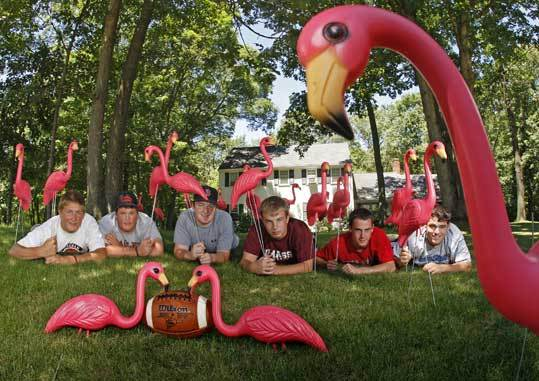 Hingham high football players (from left) Pat Creahan, Liam O'Neil, Kurt Cawley, Tom Rogg, Jake Quinn, and K.C. Murphy, and their flock.