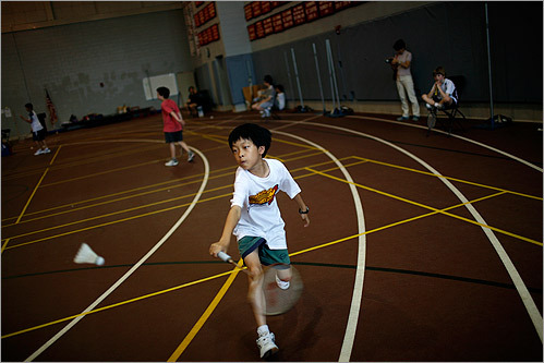 Darren Yang of Acton played badminton in the Bay State Games at Marblehead High School.