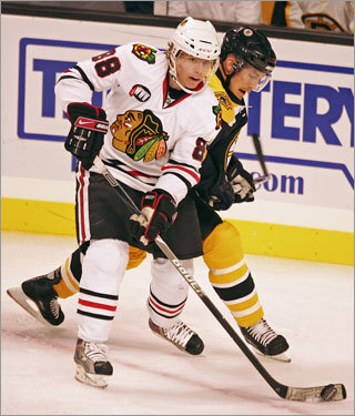 at Chicago, Nov. 12 Chicago GM Dale Tallon produced one of the biggest offseason thunderclaps by signing puck-mover extraordinare Brian Campbell to an eight-year, $56.8 million contract to complement a young and mobile back end. Up front, the Blackhawks feature fresh-faced phenoms Jonathan Toews and Patrick Kane (pictured). Bruins killer Cristobal Huet mans the net. There might actually be a full house at the United Center for this one.