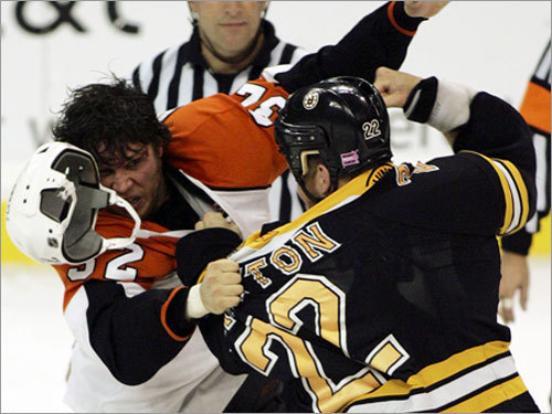 at Philadelphia, Feb. 4 First clash between the Bruins and the bare-knuckle bunch that KO'ed Bergeron and Andrew Alberts last year. Not exactly a lovefest predicted for this match.