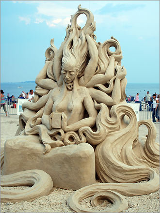And the 2008 New England Sand Sculpting Festival winner is ... 'Euphoria' by Carl Jara Official standings: Fifth place: The Flame Fourth place: Lost Third place: Everybody Needs a Hobby Second place: Catching Falling Stars People's choice award: Catching Falling Stars