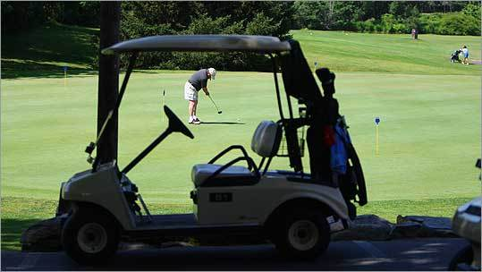 Joseph Proulx of Burlington practiced his putting skills on the green at Juniper Hill Golf Course in Northborough, Mass.