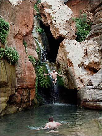 Zack Johnson jumping out of the rocks at Elve's Chasm.