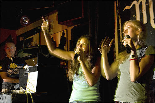 Girls just want to have fun: Lauren Block of Sharon (left) sang with Lauren Taylor of Brookline. See more pics from this event More info on the Midway Café SUBMIT Your nightlife photos! TALK What scene should we visit next?