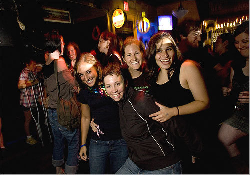 From left, Anne-Marie Witzburg, Deb Kelly, Alison Brill and Miriam Greenbaum, all of Jamaica Plain, awaited their turn to sing. They'd make a nice girl group, no? See more pics from this event More info on the Midway Café SUBMIT Your nightlife photos! TALK What scene should we visit next?