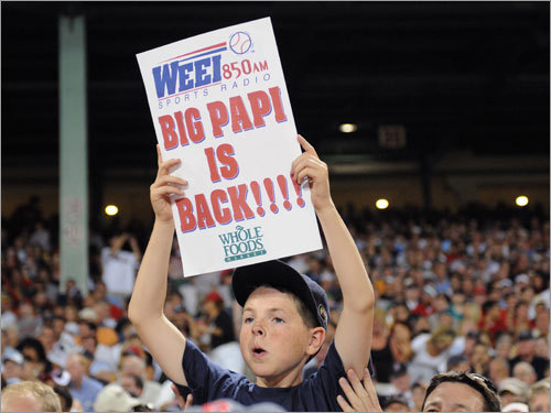 Matt Haley, 11, of Wakefield held up a sign in support of David Ortiz (not pictured) during the 6th inning.