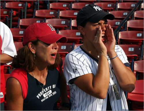 'Manny's not a team player,' said South Boston's Nancy O'Brien (left). 'He should be sat down [by Terry Francona]. We have Coco, Ellsbury, Drew... and Sean Casey, one of the best bench players in the game. We have enough strength to win without him.' Yankee fan friend of Nancy, Gina Papa, from Madison, N.J., was just glad Manny wasn't going to be in the lineup.