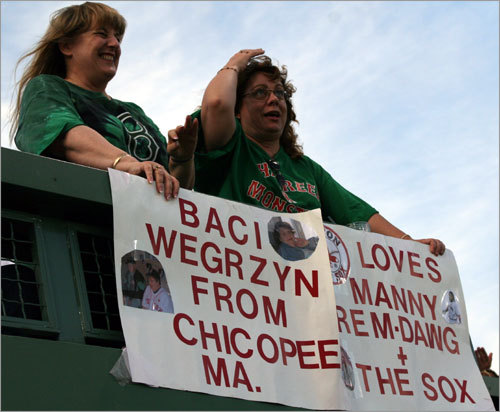 'My mom is going to be very disappointed,' said Lynn Beauchesne (right), from Windsor Locks, Conn. regarding Manny's absence from the park on Friday night. 'I don't think it's OK. We were expecting him... and we made this sign.'