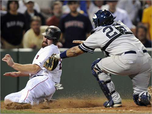 Red Sox first baseman Kevin Youkilis is safe while sliding into home plate as Yankees catcher Jose Molina reaches for a late tag during the sixth inning.